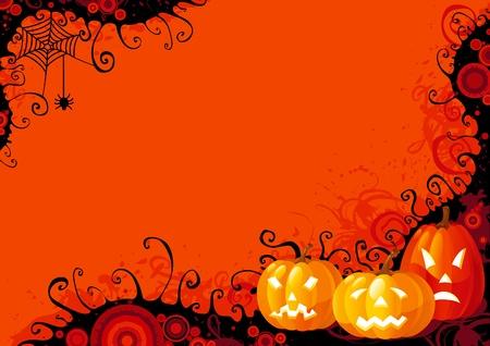 Halloween pompoenen. Drie gloeiende Halloween pompoenen en spin met web op abstracte achtergrond.