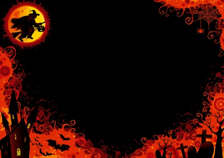 Halloween background . Vector Halloween background with witch, bats, old house, moon, trees, graveyard, grave, grave stone.
