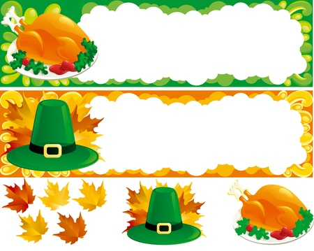 profusion: Two web banners for thanksgiving. Hat, Turkey-cock and  autumn leaves. There are no meshes in this image.