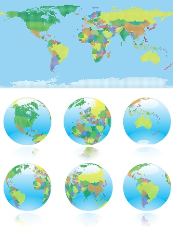 World map. World map and six kind of globe with all countries of World.  Vector