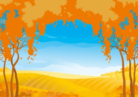 Vector autumn landscape with yellow fields with frame of orange trees. Vector