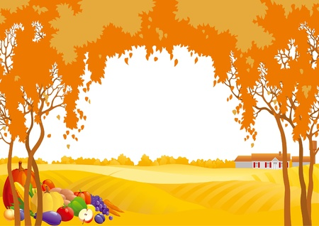 Thanksgiving background. Many fruits and vegetables on Autumn landscape with yellow meadows and frame of orange trees.