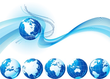 physical geography: Global Communication - all over the world. Abstract background with six kind of globe