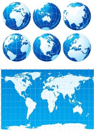 Vector Set der Weltkarte und sechs Globen Standard-Bild - 11017501