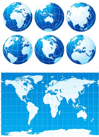 world globe map: Vector set of  World map  and six globes Illustration