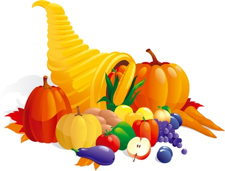 Horn of Plenty. Vector illustration of Cornucopia with fruit, berries  and vegetable.