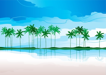 Tropical coast. Horizontal vector   landscape with tropical coast and row of palms