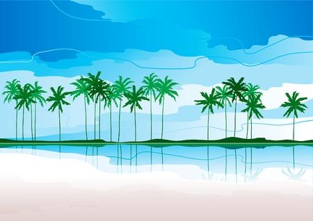 Tropische Küste. Horizontal Vektor-Landschaft mit tropischen Küste und Reihe der Palmen Standard-Bild - 11017495