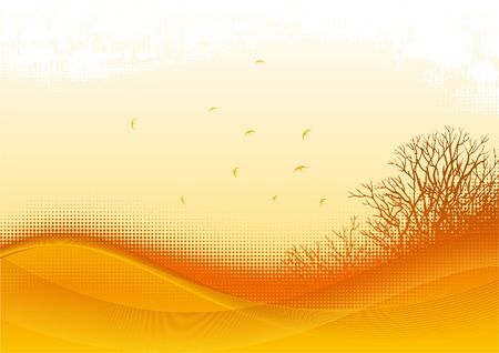 Autumn landscape. Silhouette of   Bare bushes and birds on grunge background Vector