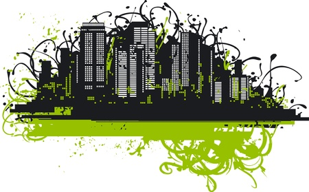 Urban background. Vector abstract skyscrapers on grunge background with  blobs. Vector