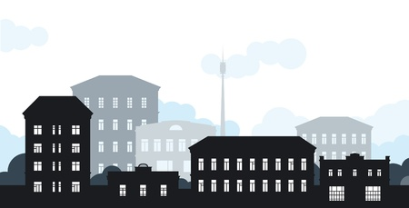 City landscape. Vector background of city landscape. Horizontal format.