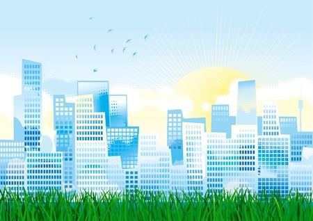 Environment. Town on green grass. Vector