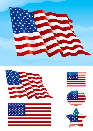ville usa: Jeu de drapeau am�ricain. Drapeau des Etats-Unis sur le ciel bleu, isol� sur fond blanc et les ic�nes avec elle - �toiles, de forme carr�e et ovale Illustration