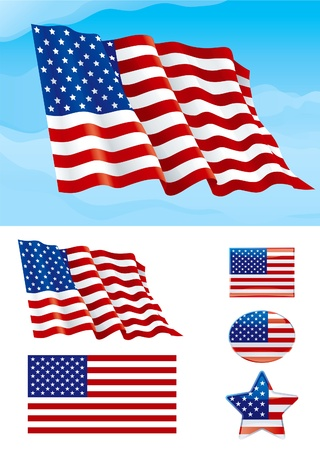 Set of American flag. Flag of USA on blue sky, Isolated on white background and icons with it - star, square and oval shape Vector