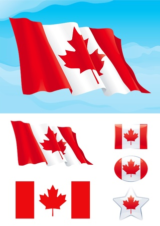 Set of Canadian flag. Flag of Canada on blue sky, Isolated on white background and icons with it - star, square and oval shape Illustration