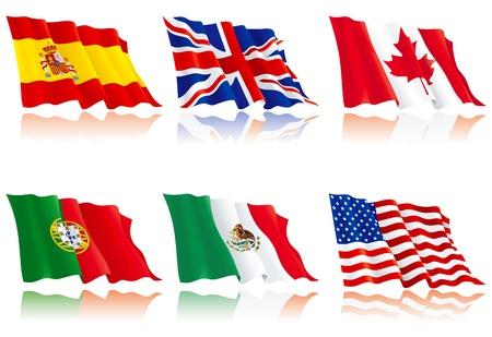 bandiera inghilterra: Flags set di tre nazioni del mondo Vettoriali