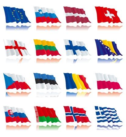 holanda bandera: Banderas conjunto de las naciones del mundo un Vectores