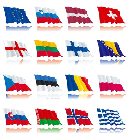 Flags set of world nations 1 Vector