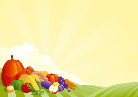 Harvesting. Vector illustration of group of many fruit  and vegetable on autumn landscape Vector