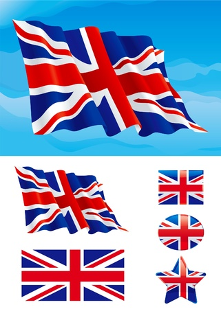 Set of British flag. Flag of United Kingdom on blue sky, Isolated on white background and icons with it - star, square and oval shape Vector