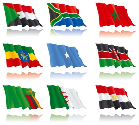 Flags of the African nations  (set 2).  Ethiopia, Sudan, Zambia, South Africa, Somalia, Algeria, Morocco, Kenya, Egypt.