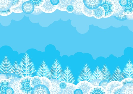 copy spase: Vector blue background with a white ornate forest for a christmas card Illustration