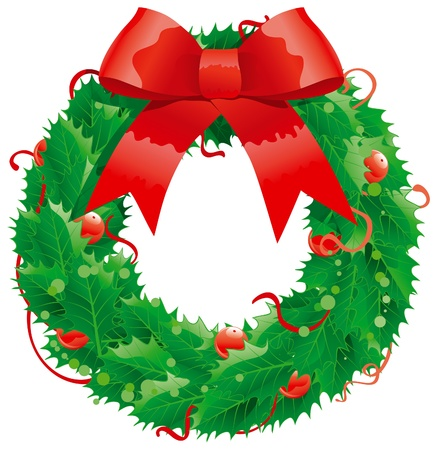 Christmas decoration -  holly wreath Vector