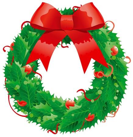 Weihnachtsdekoration - Stechpalmenkranz Standard-Bild - 11082949