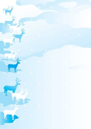 Vector winter  christmas landscape with snow-covered fields and deers Stock Vector - 11082950