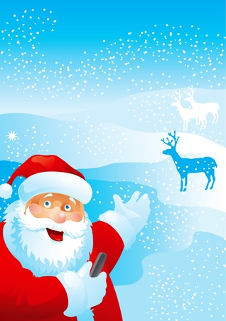 Welcome! Vector illustration of Santa Claus, with mobile phone, on the distant plan - deers Vector