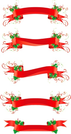 set of vector red banners with holly for christmas decoration