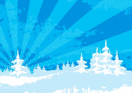 Vector illustration of background with snow covered firs at style grunge Vector