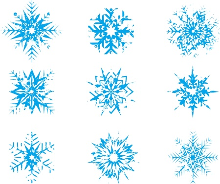 set of vector blue snowflakes at style grunge  Illustration