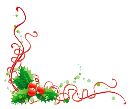 twigs: Christmas holly decoration. Vector abstract christmas illustration of holly on white background Illustration