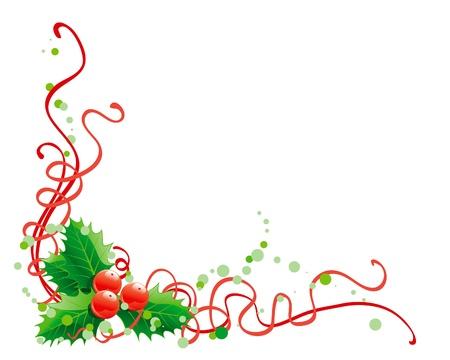hulst: Kerst holly decoratie. Vector abstracte kerst illustratie van de hulst op een witte achtergrond Stock Illustratie