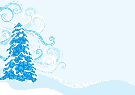 Vector illustration of background with winter stylized blue fir-tree Stock Vector - 11082954