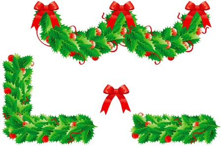 Holly  christmas decoration. Set of vector  garland and  two frame Vector