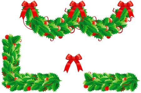Holly Weihnachtsdekoration. Set von Vektor-Girlande und zwei Rahmen Standard-Bild - 11082968