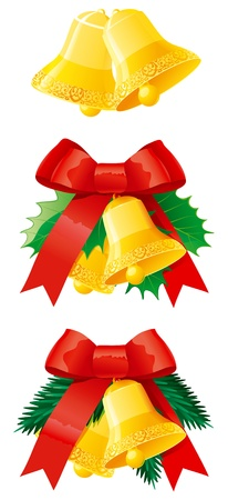 Set of christmas hand bells. Vector illustration of christmas door decoration with hand bells, fir and holly branches Vector