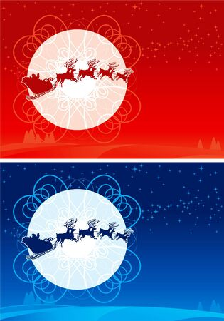 nicholas: Santa Claus Sleigh. Two vector christmas cards with flying of Santa Claus Sledge and his reindeers Illustration