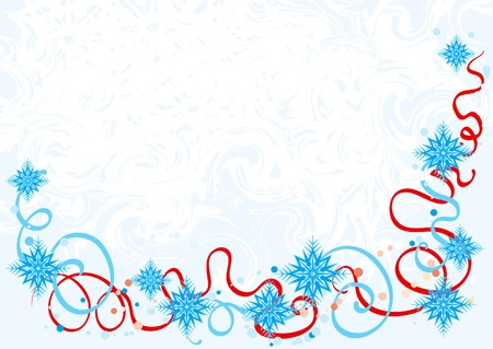 stationary border: Vector illustration of abstract christmas background with snowflakes