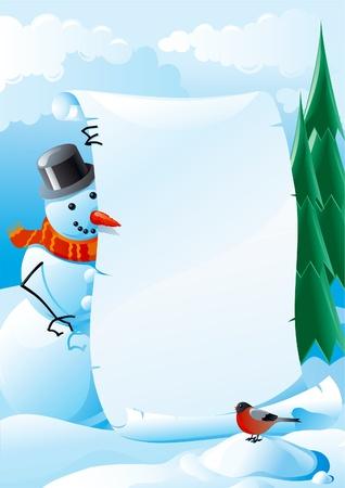 cute border: Pupazzo di neve lettera. Illustrazione vettoriale di pupazzo di neve e di Natale con ciuffolotto vuoto