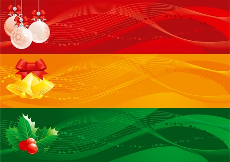 natale: Christmas banners -2 . Vector set of christmas banners with handbells, baubles and holly decoration