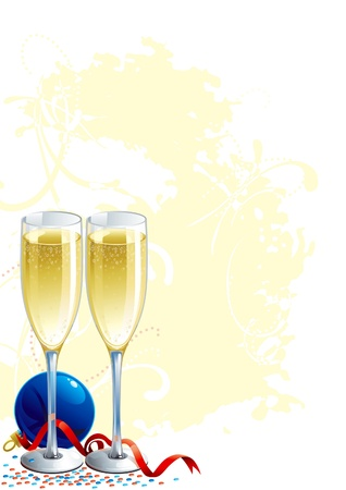 Happy New Year! Two  vector  Champagne Flutes, blue bauble and ribbon on abstract grunge background.  Vector