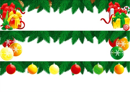 Christmas baubles. Vector banners with baubles, branches of fir tree and many gift boxes isolated  on white background for christmas.  Stock Vector - 11118974