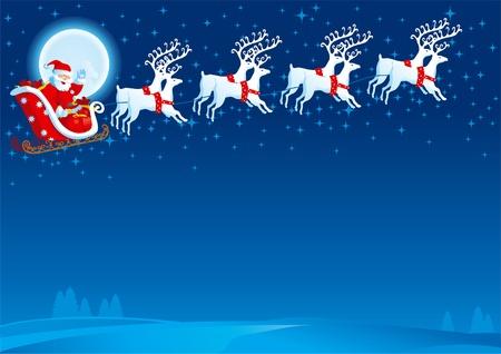 renos de navidad: Trineo con Santa Claus. Vector de tarjeta de Navidad con el vuelo de trineo con Santa Claus Vectores