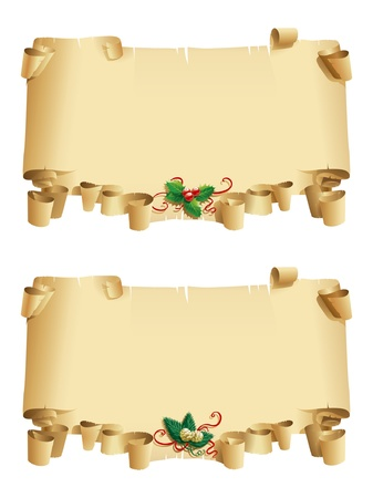 scroll border: Vector illustration on white background with two old roll with holly and fir branches Illustration