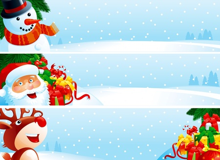 Christmas banner. Vector banners with Santa Claus, snowman, Red-Nosed Reindee, branches of fir tree and many gift boxes on winter snow landscape for christmas. Vector
