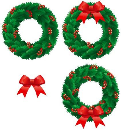 christmas berries: Natale agrifoglio corona. Vector set di decorazioni natalizie - corona di agrifoglio con le bacche e fiocco isolato su sfondo bianco.