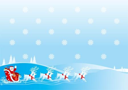 laponie: Santa Claus va avec des cadeaux sur luge avec des rennes Illustration